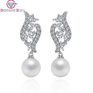 Pearl Drop Bridal Crystal Wedding Earrings