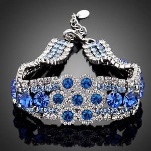 Royal Blue Cubic Zirconia Bracelet Platinum Royal Blue Stellux Austrian Crystal