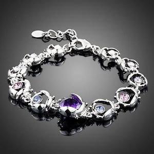 Purple CZ Bracelet Plated Stellux Austrian Crystal Purple High Quality Bracelet