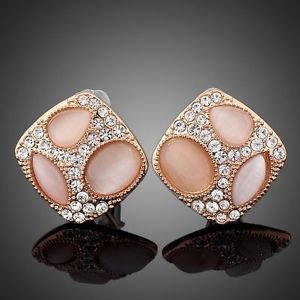 Rose Gold Plated Stellux Austrian Crystals Pink Stud Fashion Costume Earrings
