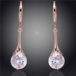 Costume Jewellery Women 14k Gold Filled White  Clear Crystal Dangle Earrings