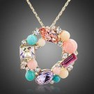 18K Gold Plated Pink Blue  Stellux Austrian Crystal Round Pendant Necklace