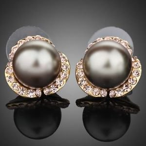 Grey Pearl Stud Earring Stellux Austrian Crystal  Pearl  Stud Fashion Earrings