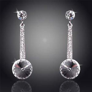 Costume Jewellery White Crystal Earrings Round 18K Silver Plated Drop Earrings