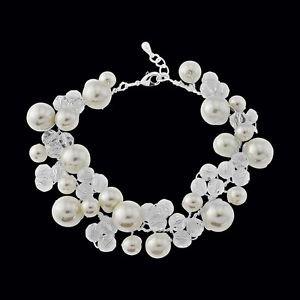 Handmade Bridal Ivory Pearl  Bracelet Stellux Austrian Crystals Pearl Bracelet