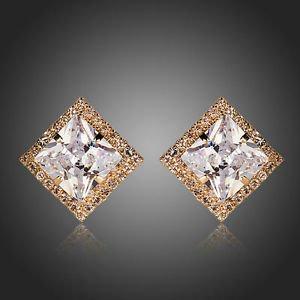 Big Cubic Zirconia Stud Earrings Square CZ Studs Wedding Bridal Earrings