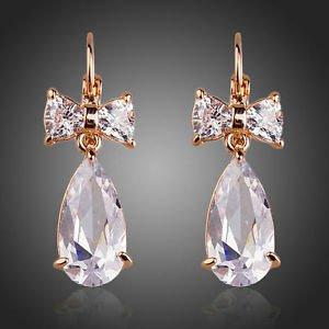 Bridal Drop CZ Earrings Tear Drop Earrings in Rose Gold Plated Bow Drop Earrings