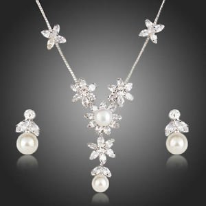 Fashion Jewelry Rhinestone CZ  Pearl Crystal Earrings Necklace Set Gold Plated