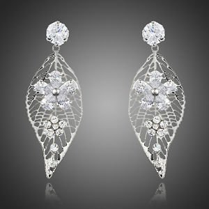 Crystal Chandelier Earrings Leaf Design Long Drop Cubic Zirconia Drop Earrings