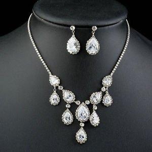 Wedding Bridal Zirconia Necklace and Drop Earrings Set CZ Bridal Wedding Set