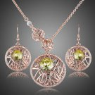 Fashion Jewelry Rose Gold Plated  Green Austrian Crystals Earrings & Pendant Set