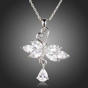 Bridal Wedding Jewelery 18 K White Gold Swiss Cubic Zirconia Pendant Necklace