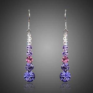 Purple Pink Long Drop Earrings Round Stellux Austrian Crystal Drop Earrings
