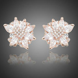 Rose Gold Bridal Stud Earrings Cubic Zirconia Wedding Vintage Flower Earrings