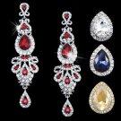 Red Bridal Chandelier Earrings Drop Bridal Champagne Pageant Crystal Earrings