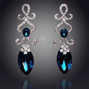 18K Silver Plated Austrian Crysta lLong  Drop Teal Fashion Earrings