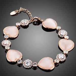 Rose Pink Fashion Bracelet Crystal  Cubic Zirconia  Pink  Rose Costume Bracelet