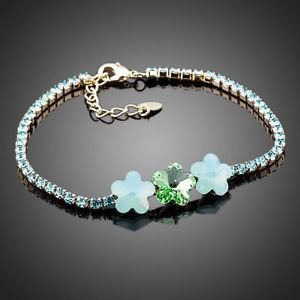 Blue Fashion Bracelet Jewellery Cubic Zirconia  Three Stars Flower Bracelets