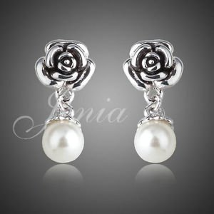 Fashion Jewellry  18K White Gold Plated Rose and Mock  Pearl Drop Earrings