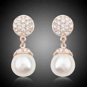 Pearl Drop Earrings Bridal Long Drop CZ Stud Fashion Jewelry Pearls Earrings
