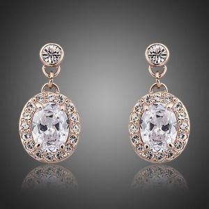 18K Rose Gold Plated Stellux Austrian Crystal Drop Earrings White Gold Plated