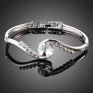 Platinum Plated Transparent Round Stellux Austrian Crystal Paved Bangle Bracelet