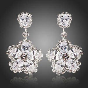 Crystal Drop Pageant Wedding Prom Party Swiss Cubic Zirconia Drop Earrings