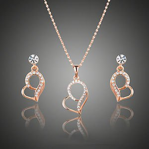 Rose Gold Set Stellux Austrian Crystal Drop Earrings and Pendant Necklace Set