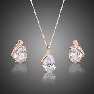 Rose Gold Bridal Set Bridesmaid Cubic  Earrings Pendant Necklace Jewelry Sets