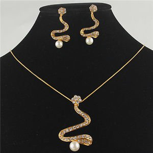 Necklace Earrings Sets 18k Gold Plated Austrian Pearl Crystal Necklace BridalSet
