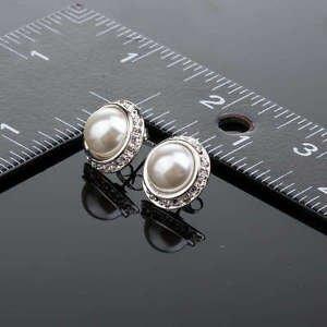Ivory White Pearl Stud Earrings Vintage Crystal Pearl Studs Wedding Earrings