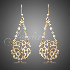 fashion Jewelry Gold Plated Austrian Rhinestone Chandelier Earrings with Pear