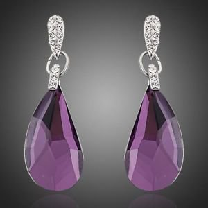 Purple Drop Earrings Austrian Crystal Fashion Costume Jewellery Drop Earring