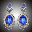Vintage Blue Chandelier Earrings Drop Bridal Earrings Pageant Crystal Earrings