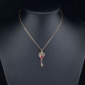 Real Gold Plated Red Austrian Crystals Unlocking Key Design Red Pendant Necklace