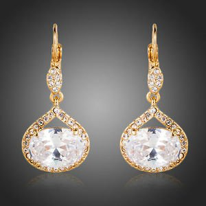 Fashion Earring Bridal Cubic Zirconia Egg Shaped Bridal Wedding Crystal Earrings