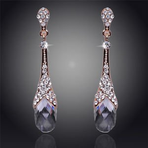 Water Drop Shaped 18K Gold Plated Bridal Crystal Clear Stone Drop Earrings