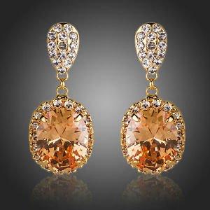 Rose Gold Earrings Champagne Cubic Zirconia earringsOrange Drop Fashion Earrings