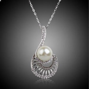 Wedding Bridal Pearl Drop Necklace 18K White Gold Plated Cubic Pearl Pendant
