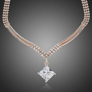 Rose Gold Necklace Fashion Necklace Rose  Gold Plated Stellux Austrian Crystal
