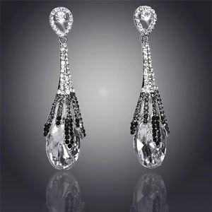 Fashion Earrings Chandelier Crystal Water Drop 18K Silver Plated Drop Earrings