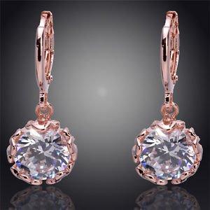 Fashion Jewellery Gold Filled Clear Austrian Crystal Dangle Earrings