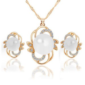 Pearl Crystal  Bridal Necklace Earrings Set Crystal Necklace Party Jewelry Set