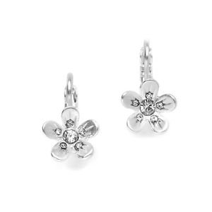 Real Silver Matte Silver Flower Prom or Bridesmaids Earrings Gift