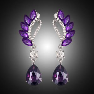 Purple Drop Crystal Earrings Fashion Jewelry Vintage Cubic Zirconia Earrings
