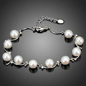Fashion Bracelet Bridal Real Pearl Bracelet Stellux Austrian Crystal Bracelets