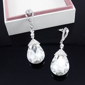 White Long Drop Earrings Stullux Pageant Earrings Crystal Long Drop Earrings