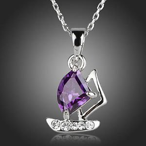 Fashion Jewelry Purple Cubic Zirconia Pendant Fashion Necklace  Boat Motive