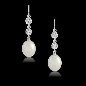 Pearl Drop Earrings, Bridal Earrings,CZ Pearl Dangle Earrings, Gold  CZ Earrings