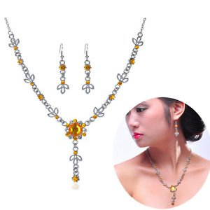 Yellow Gold Crystal Necklace Set Earrings Set Wedding Bridal Jewelry Prom balls